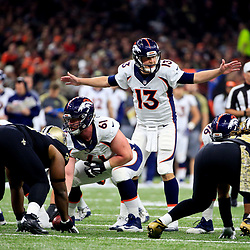 Nov 13, 2016; New Orleans, LA, USA;  Denver Broncos quarterback Trevor Siemian (13) against the New Orleans Saints during the first quarter of a game at the Mercedes-Benz Superdome. Mandatory Credit: Derick E. Hingle-USA TODAY Sports