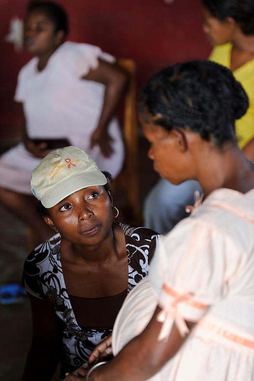 Peer educator Myriam Raheliarimanga during an antenatal class, Ambanatao, Fort Dauphin, Madagascar. Azafady's mission is to alleviate extreme poverty and protect endangered, biologically rich forest environments in Madagascar by empowering some of the poorest people to establish sustainable livelihoods and improve their health and wellbeing. Their aims are to raise awareness about the plight of the Madagascan environment and the Malagasy people; to empower Malagasy people to improve their own lives; and provide support to communities and threatened environments. Azafady's approach is one of co-operation and participation with grassroots communities working to alleviate the effects of poverty and to support viable, environmentally sensitive development. Their holistic development and conservation projects support some of the world's most vulnerable people in threatened & irreplaceable environments. At the heart of the charity's work is an integrated approach to the needs of the Malagasy people and their unique environment, sensitively built around what local people have told the charity are their most critical needs and which maximises community participation. Azafady develop projects using the Sustainable Livelihoods model for poverty reduction, which aims to reduce vulnerability by strengthening communities' human, natural, financial, social and physical assets with a caveat that the charity's projects and activities do not compromise the environment. Projects incorporate communication, training and support at the level of the Fokontany (village) and the household, with a priority for the most isolated and marginalised communities. The charity has recently recruited a Research, Monitoring and Evaluation Manager, who will implement Azafady's new HIV/AIDS activities with pregnant and married women, with the aim of reducing rates of maternal transmission of HIV within the town.