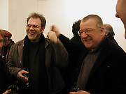 Mathew Collings and john McLean. John McLean, Flowers Central, 21 Cork Street,  8 January 2003. W1© Copyright Photograph by Dafydd Jones 66 Stockwell Park Rd. London SW9 0DA Tel 020 7733 0108 www.dafjones.com