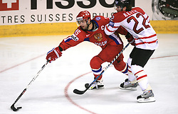 Alexei Morozov (95) of Russia vs Duncan Keith (22) of Canada at  ice-hockey game Canada vs Russia at finals of IIHF WC 2008 in Quebec City,  on May 18, 2008, in Colisee Pepsi, Quebec City, Quebec, Canada. Win of Russia 5:4 and Russians are now World Champions 2008. (Photo by Vid Ponikvar / Sportal Images)
