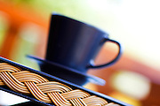 Cup of tea on a tray - selective focus