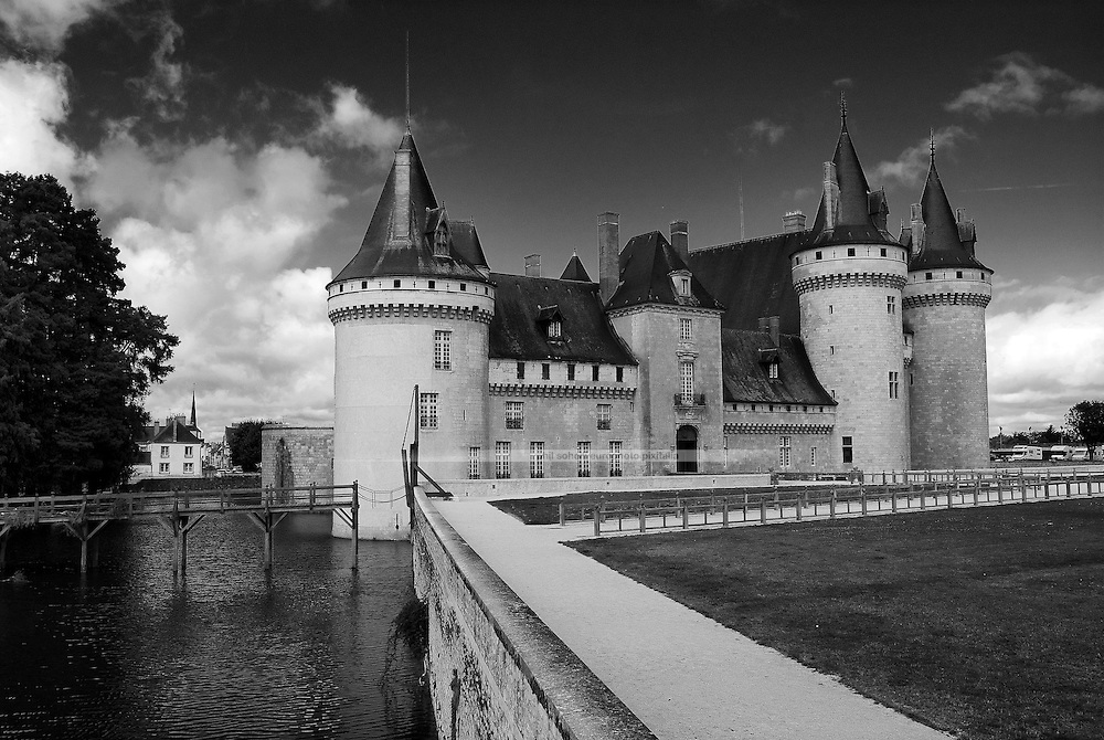 The Castle Sully sur Loire with its surrounding ditch. One of the most beautifully restored castles in the Valley of the Loire River.