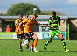 Jack Taylor of Barnet tries to hold off Keanu Marsh-Brown of Forest Green Rovers  - Mandatory by-line: Nizaam Jones/JMP - 05/08/2017 - FOOTBALL - New Lawn Stadium - Nailsworth, England - Forest Green Rovers v Barnet - Sky Bet League Two
