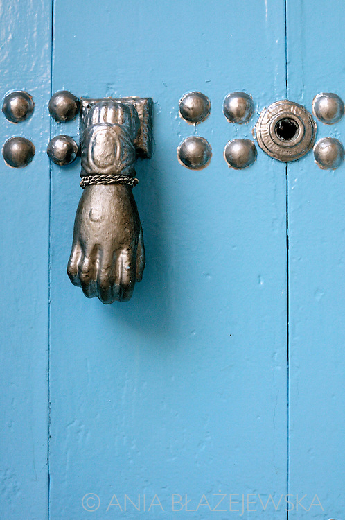 Morocco, Chefchaouen. Silver detail on the blue door.
