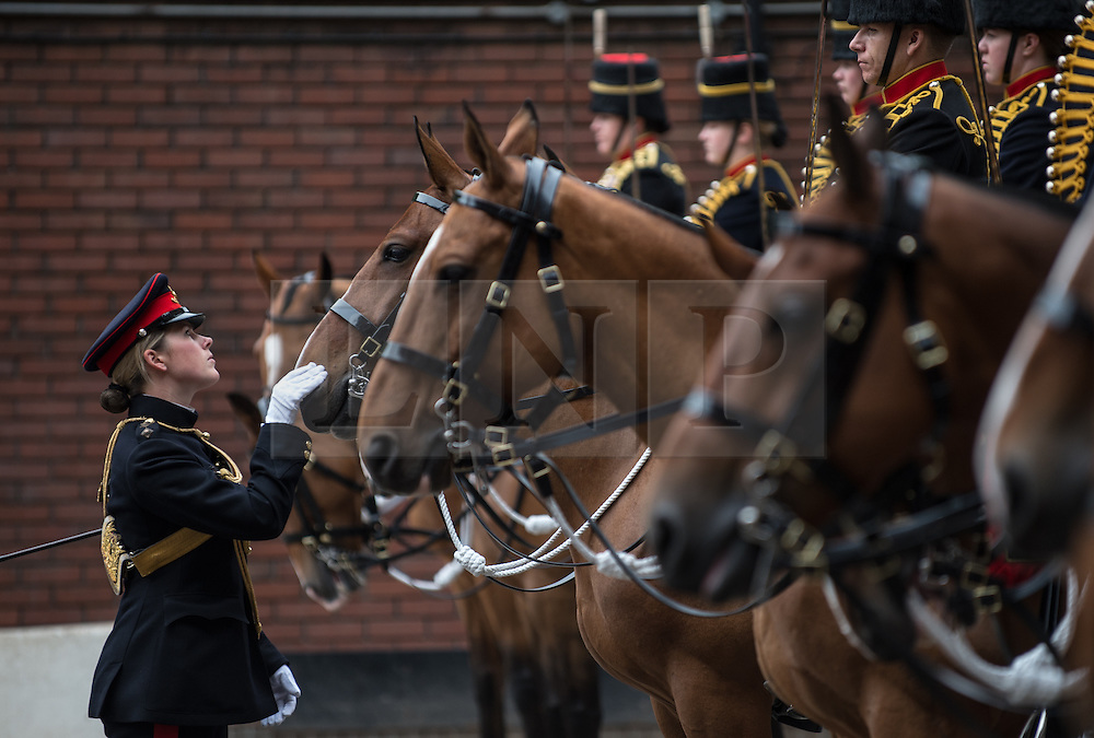 © London News Pictures. 14/07/2015.  Adjutant King's Troop Royal Horse Artillery, Captain Claire Blakiston, makes the final inspection before the troops leave camp. . More usually associated with the ceremonial gun salutes and musical rides with their 13lb guns, they took on the role of both mounted and dismounted guard at the entrance of Horse Guards. This year, for the first time, they are using Knightsbridge Barracks, the home of the Household Cavalry Mounted Regiment, for the period of their duty, as opposed to Wellington Barracks, which they have used in previous years.  Photo credit: Sergeant Rupert Frere/LNP