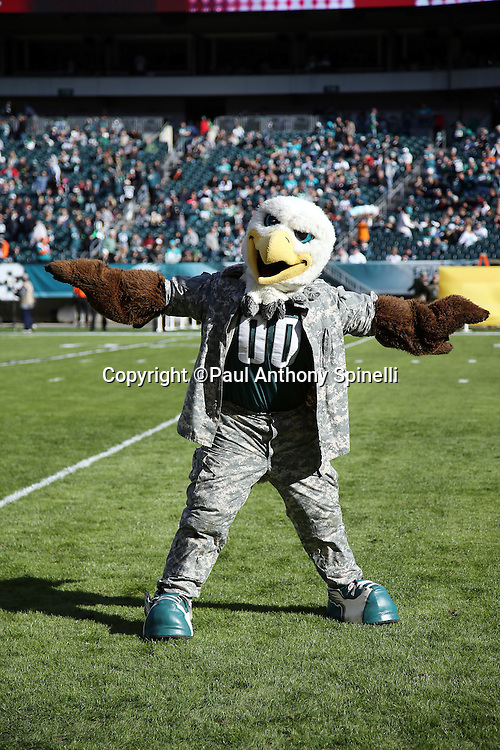 The Philadelphia Eagles mascot poses for a pregame photo before the Philadelphia Eagles 2015 week 10 regular season NFL football game against the Miami Dolphins on Sunday, Nov. 15, 2015 in Philadelphia. The Dolphins won the game 20-19. (©Paul Anthony Spinelli)