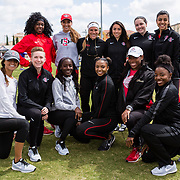 23 March 2018: The San Diego State women's Track &amp; Field graduating seniors pose for a photo during a break in action at the final day of the 43rd annual Aztec Invitational.<br /> More game action at sdsuaztecphotos.com