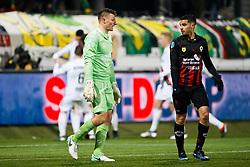 (L-R) goalkeeper Theo Zwarthoed of Excelsior,  Khalid Karami of Excelsior during the Dutch Eredivisie match between sbv Excelsior Rotterdam and ADO Den Haag at Van Donge & De Roo stadium on March 16, 2018 in Rotterdam, The Netherlands