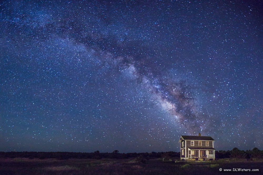 Abandoned farm house on the Core Banks, NC and the Milky Way.