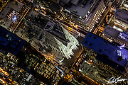 Aerial view of St Patrick's Cathedral in New York City at night, photographed from a helicopter.