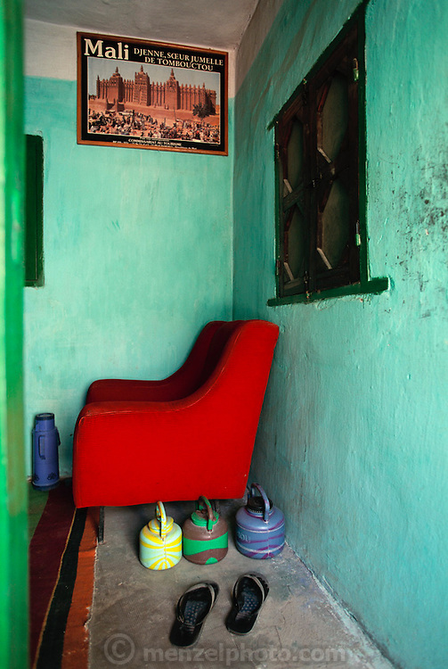 Vibrant colors in a mud and plaster walled room in a house in Djenne, Mali. Africa.