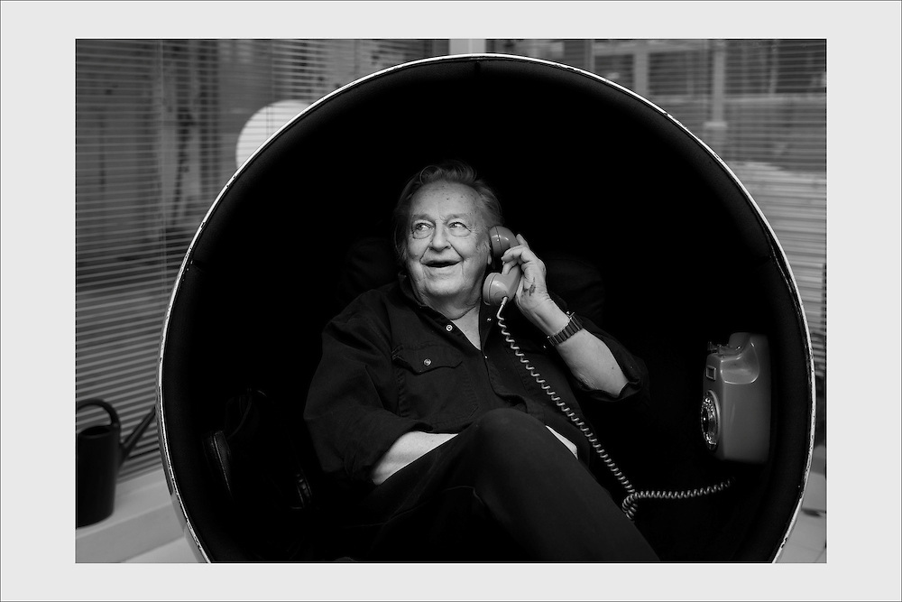 Furniture designer Eero Aarnio and his famous 60s classic, the Ball Chair, at his home. Veikkola, Finland, January 13, 2015.