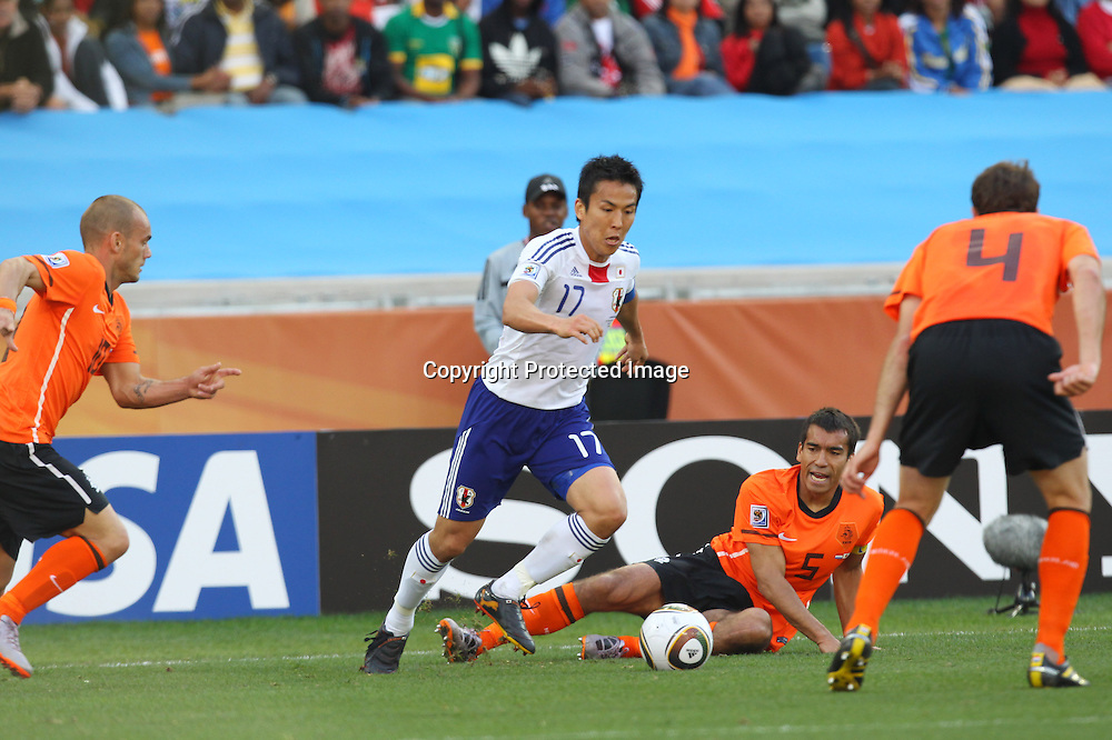 &rsquo;&middot;&rsquo;J&bull;&rdquo;&frac12;/Makoto Hasebe (JPN), <br />JUNE 19, 2010 - Football : <br />2010 FIFA World Cup South Africa <br />Group Match -Group E- <br />between Netherlands 1-0 Japan <br />at Durban Stadium, Durban, South Africa. <br />(Photo by YUTAKA/AFLO SPORT) [1040]