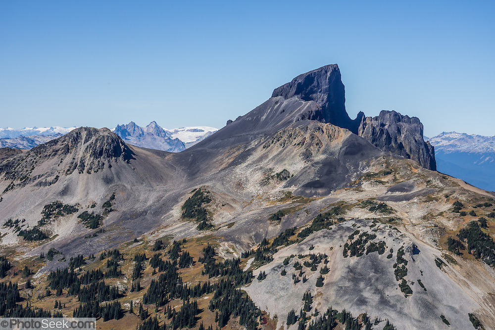 See the volcanic pinnacle of Black Tusk (2319 m or 7608 ft) from Panorama Ridge Trail. The Black Tusk is a remnant of an extinct andesitic stratovolcano which formed 1.3-1.1 million years ago: after long glacial erosion, renewed volcanism 170,000 years ago made the lava flow and dome forming the tooth-shaped summit. The top of Panorama Ridge is 17 miles round trip with 5100 feet gain from Rubble Creek parking lot (or 6 miles/10k RT with 2066 ft/630m gain from either Taylor Meadows or Garibaldi Lake Backcountry Campground). A hiking loop to Garibaldi Lake via Taylor Meadows Campground is 11 miles (18k) round trip, with 3010 ft (850m) gain. Garibaldi Provincial Park is east of the Sea to Sky Highway (Route 99) between Squamish and Whistler in the Coast Range, British Columbia, Canada.