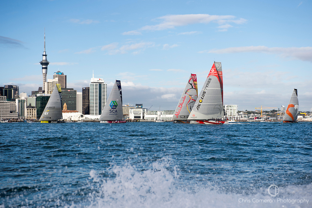 The Volvo Ocean Race fleet start leg 5 in the Waitamata Harbour Auckland bound for Itajai, Brazil. Dong18/3/2015