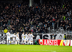 27.02.2020, Linzer Stadion, Linz, AUT, UEFA EL, LASK vs AZ Alkmaar, Sechzehntelfinale, im Bild Der LASK feiert das 2 zu 0 durch Marko Raguz (LASK) // during the UEFA Europa League round of the last 32, 2nd leg match between LASK and AZ Alkmaar at the Linzer Stadion in Linz, Austria on 2020/02/27. EXPA Pictures © 2020, PhotoCredit: EXPA/ Reinhard Eisenbauer