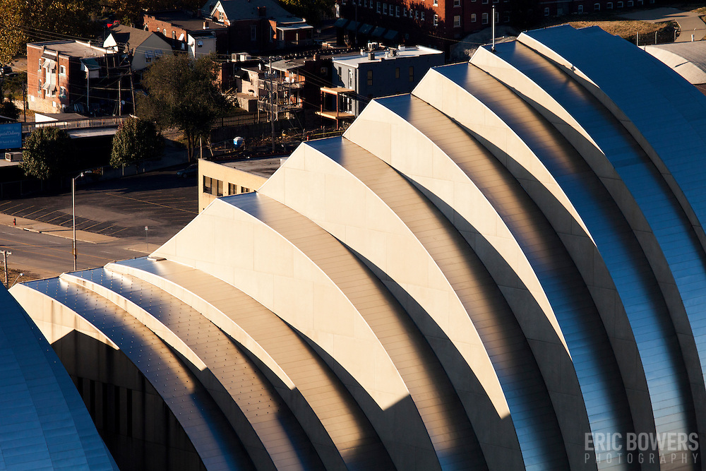 Elevated high angle view of north facade of Kauffman Center for the Performing Arts in downtown Kansas City, Missouri.