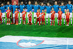 Players of Slovenia listening to the National anthem during football match between National teams of Slovenia and North Macedonia in Group G of UEFA Euro 2020 qualifications, on March 24, 2019 in SRC Stozice, Ljubljana, Slovenia. Photo by Vid Ponikvar / Sportida
