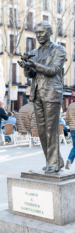Statue of Federico García Lorca at Plaza de Santa Ana, Madrid, Spain