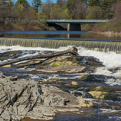A dam on the Royal River in Yarmouth, Maine. Royal River Park.