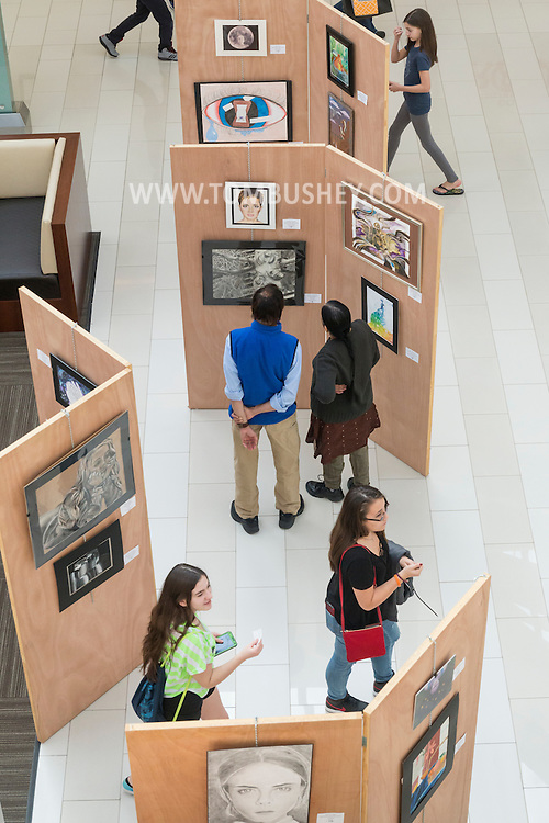 Town of Wallkill, New York - People look at orginal artwork created by high school students at the 2017 All-County Musical Showcase and Visual Arts Display at the Galleria at Crystal Run on Feb. 25, 2017.