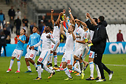 Olympique de Marseille players jubilate after the French Championship Ligue 1 football match between Olympique de Marseille and Toulouse FC on September 24, 2017 at Orange Velodrome stadium in Marseille, France - Photo Philippe Laurenson / ProSportsImages / DPPI