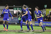 Paul Robinson of AFC Wimbledon celebrates his goal 1-0 with Lyle Taylor of AFC Wimbledon during the Sky Bet League 2 match between AFC Wimbledon and Carlisle United at the Cherry Red Records Stadium, Kingston, England on 23 February 2016. Photo by Stuart Butcher.