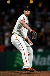 SAN FRANCISCO, CA - AUGUST 13: Will Smith #13 of the San Francisco Giants pitches against the Oakland Athletics during the ninth inning at Oracle Park on August 13, 2019 in San Francisco, California. The San Francisco Giants defeated the Oakland Athletics 3-2. (Photo by Jason O. Watson/Getty Images) *** Local Caption *** Will Smith