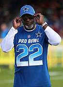 Jan 23, 2019; Kissimmee, FL, USA; Former Dallas Cowboys running back and hall of famer Emmitt Smith (22) poses before the 2019 Pro Bowl Skills Challenge at ESPN Wide World of Sports Complex. (Steve Jacobson/Image of Sport)
