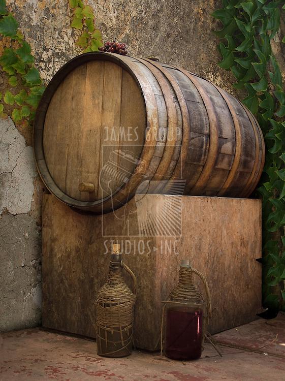 Barrel of wine in a rustic setting