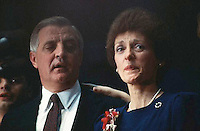 November 1984, St. Paul, Minnesota, USA --- Democratic presidential candidate Walter Mondale and his wife, Joan, speak to supporters after losing the 1984 presidential election  --- Image by © Owen Franken