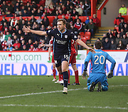 Greg Stewart celebrates after putting Dundee into the lead -  Aberdeen v Dundee, SPFL Premiership at Pittodrie<br />