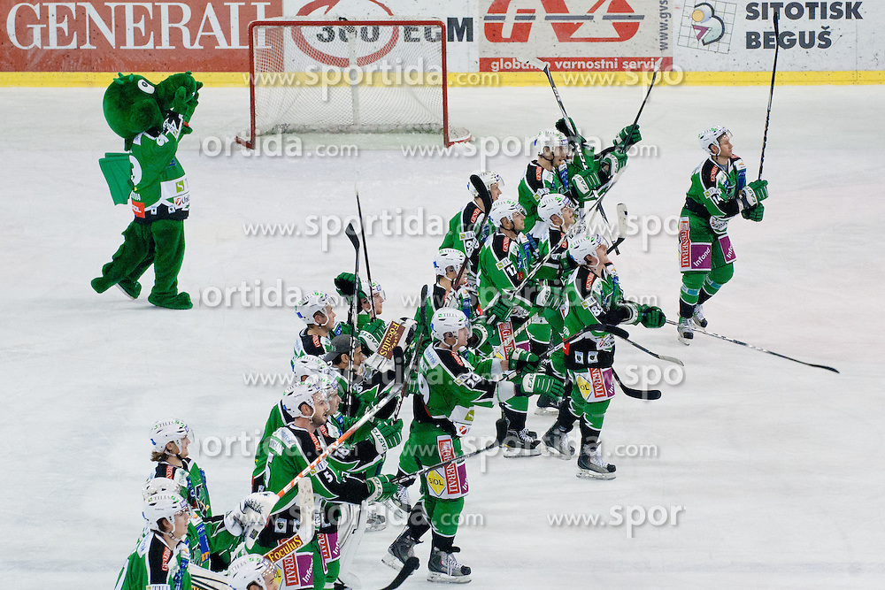 HDD Tilia Olimpija greets fans after ice-hockey match between HDD Tilia Olimpija and HK Acroni Jesenice in 23rd Round of EBEL league, on November 20, 2011 at Hala Tivoli, Ljubljana, Slovenia. HDD Tilia Olimpija won 5:2. (Photo By Matic Klansek Velej / Sportida)