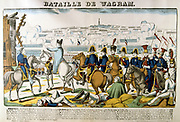 Napoleon at the Battle of Wagram, 5-6 July 1809. Decisive French victory under Napoleon over the Austrians under Archduke Charles led to Armistice of Zniam. Popular French hand-coloured woodcut.