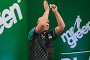 Rob Cross beats Robert Owen in the 1st round during the PDC Darts Players Championship at  at Butlins Minehead, Minehead, United Kingdom on 24 November 2017. Photo by Shane Healey.
