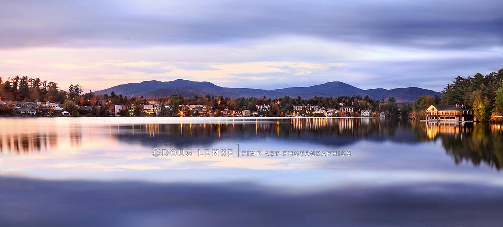Lake Placid in late evening twilight, Adirondack Mountains, Upstate New York, USA