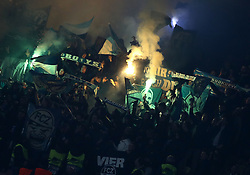 February 21, 2019 - Naples, Italy - SSC Napoli v FC Zurich - UEFA Europa League Round of 32..Zurich supporters at San Paolo Stadium in Naples, Italy on February 21, 2019. (Credit Image: © Matteo Ciambelli/NurPhoto via ZUMA Press)