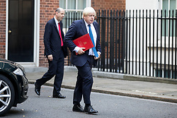 © Licensed to London News Pictures. 15/09/2017. London, UK. Foreign and Commonwealth Secretary Boris Johnson arrives in Downing Street ahead of a COBRA meeting. Photo credit : Tom Nicholson/LNP