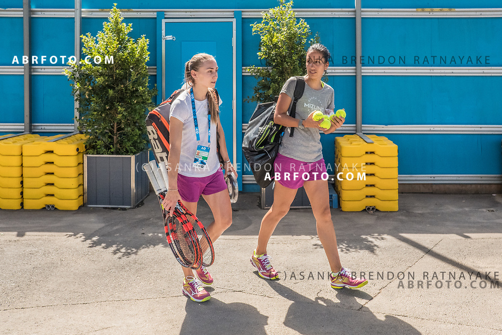 Aleksandra Krunić (Left) and her coach Elise Tamaëla (Right) leave the court at the completion of a training session at Melbourne Park in Melbourne, Australia on the 11th of January 2018. Asanka Brendon Ratnayake for The New York Times