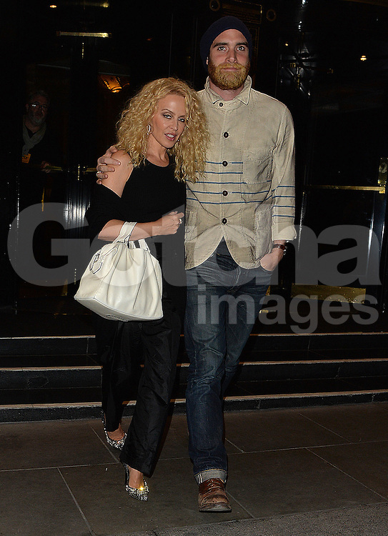 Kylie Minogue and fianc&eacute; Joshua Sasse at the Dorchester Hotel in London, UK. 23/04/2016<br />BYLINE MUST READ : GOTCHAIMAGES.COM<br /><br />Copyright by &copy; Gotcha Images Ltd. All rights reserved.<br />Usage of this image is conditional upon the acceptance <br />of Gotcha Images Ltd, terms and conditions available at<br />www.gotchaimages.com