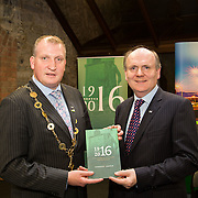 08/12/2015                <br /> Limerick City & County Council launches Ireland 2016 Centenary Programme<br /> <br /> An extensive programme of events across the seven programme strands of the Ireland 2016 Centenary Programme was launched at the Granary Library, Michael Street, Limerick, last night (Monday, 7 December 2015) by Cllr. Liam Galvin, Mayor of the City and County of Limerick.<br /> <br /> Led by Limerick City & County Council and under the guidance of the local 1916 Co-ordinator, the programme is the outcome of consultations with interested local groups, organisations and individuals who were invited to participate in the planning and implementation of events and initiatives during 2016.  <br /> <br /> Pictured at the event were, Mayor of Limerick, Cllr. Liam Galvin and Damien Brady, 2016 Co-Ordinator. Picture: Alan Place