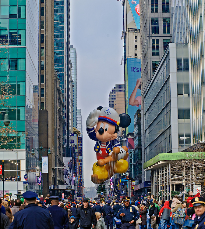 New York City, New York, Macy's Thanksgiving Day Parade, float, Mickey Mouse, 42 St