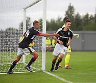 Dundee&rsquo;s Cammy Kerr celebrates his winning goal with new boy Mark O'Hara - Dumbarton v Dundee, pre-season friendly at the Cheaper Insurance Direct Stadium, Dumbarton<br /> <br />  - &copy; David Young - www.davidyoungphoto.co.uk - email: davidyoungphoto@gmail.com
