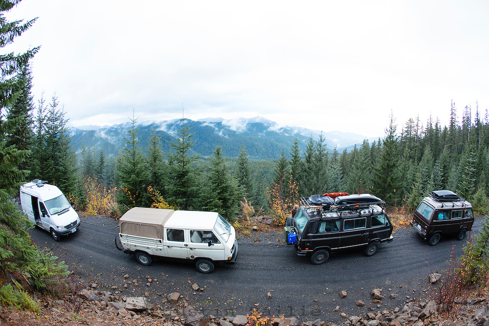 Van camping in the Cascade Mountains, Oregon.