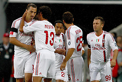 26.07.2011, Allianz Arena, Muenchen, GER, Audi Cup 2011,  FC Bayern vs AC Milan, im Bild  Jubel nach dem 0-1 durch Zlatan Ibrahimovic (Milan #11)  mit Alessandro Nesta (Milan #13) Antonio Cassano (Milan #99)  // during the Audi Cup 2011,  FC Bayern vs AC Milan , on 2011/07/26, Allianz Arena, Munich, Germany, EXPA Pictures © 2011, PhotoCredit: EXPA/ nph/  Straubmeier       ****** out of GER / CRO  / BEL ******