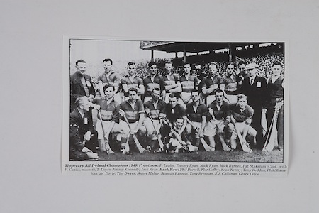 Tipperary All-Ireland Champions 1949, front row, P Leahy, Tommy Ryan, Mick Ryan, Mick Byrnes, Pat Stakelum (capt with P Caplis, mascot), T Doyle, Jimmy Kennedy, Jack Ryan, back row, Phil Purcell, Flor Coffey, Sean Kenny, Tony Reddan, Phil Shanahan, Jn Doyle, Tim Dwyer, Seamus Bannon, Tony Brennan, J J Callanan, Gerry Doyle,