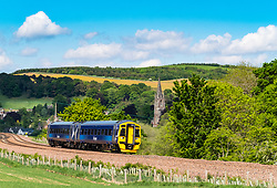View of passenger train on Borders railway at Stow, Scottish Borders , Scotland, UK