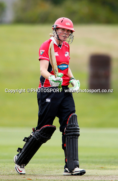 Janet Brehaut raises her bat after reaching her 50 during her Canterbury top score innings of 53. Canterbury Magicians v Wellington Blaze in the Action Cricket Cup Final. Women's Cricket. QEII Park, Christchurch, New Zealand. Sunday, 30 January 2011. Joseph Johnson / PHOTOSPORT.