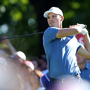 Ryder Cup 2016. Day One. Martin Kaymer of Europe tees off on the sixth in the Friday afternoon four-ball competition during the Ryder Cup at  Hazeltine National Golf Club on September 30, 2016 in Chaska, Minnesota.  (Photo by Tim Clayton/Corbis via Getty Images)