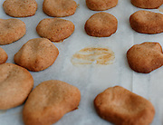 Freshly baked cookies One already missing from the tray